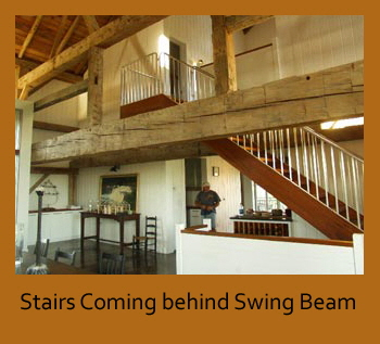 Stairs coming behind the swing beam